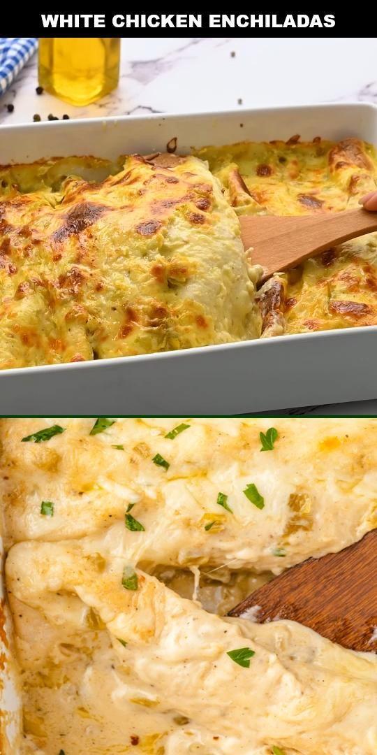 White Chicken Enchiladas Video In 2020 White Chicken Enchiladas Recipe Using Chicken Cooking Chicken To Shred