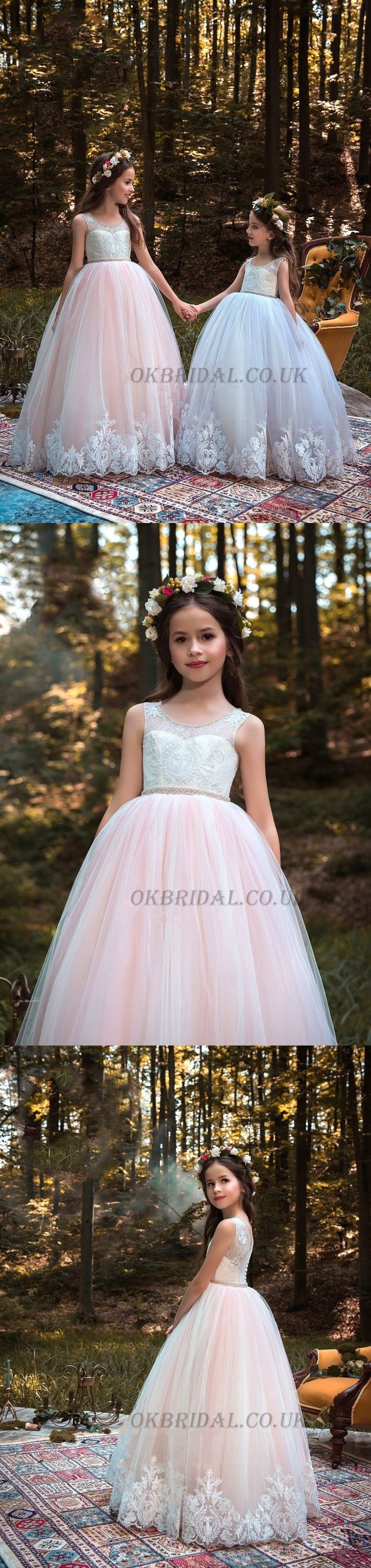 Round Neckline Lace Top Tulle Popular Applique Flower Girl Dresses