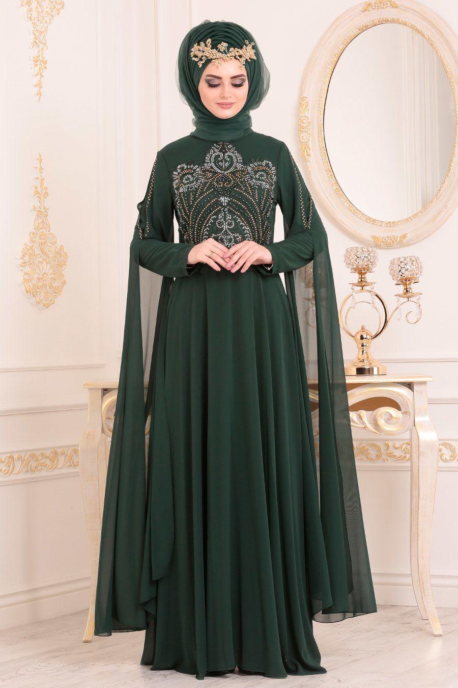 Nayla Collection Boncuk Detayli Pelerinli Yesil Tesettur Abiye Elbise 25697y Elbise Resmi Elbise Moda Stilleri