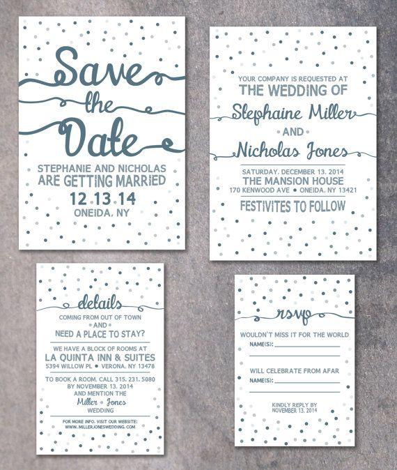Wedding Invitations Details: Winter Wedding Invitation, Confetti Invite, Printable