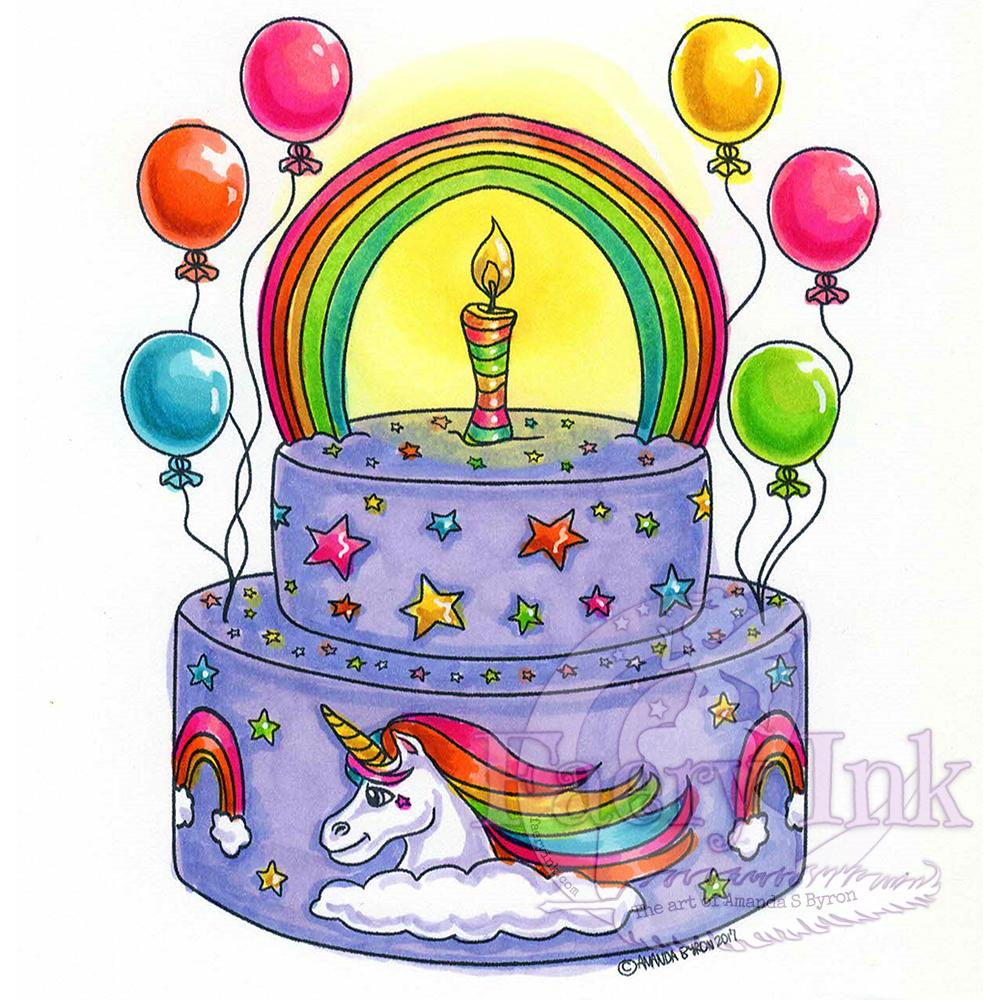 Unicorn Birthday Cake Digital Stamp (มีรูปภาพ) ภาพวาดดินสอ
