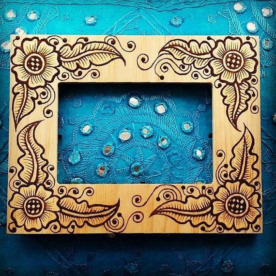 4x6 inch wood henna mehndi frame with arabic by newworldhenna 3000 - Wood Burning Picture Frame