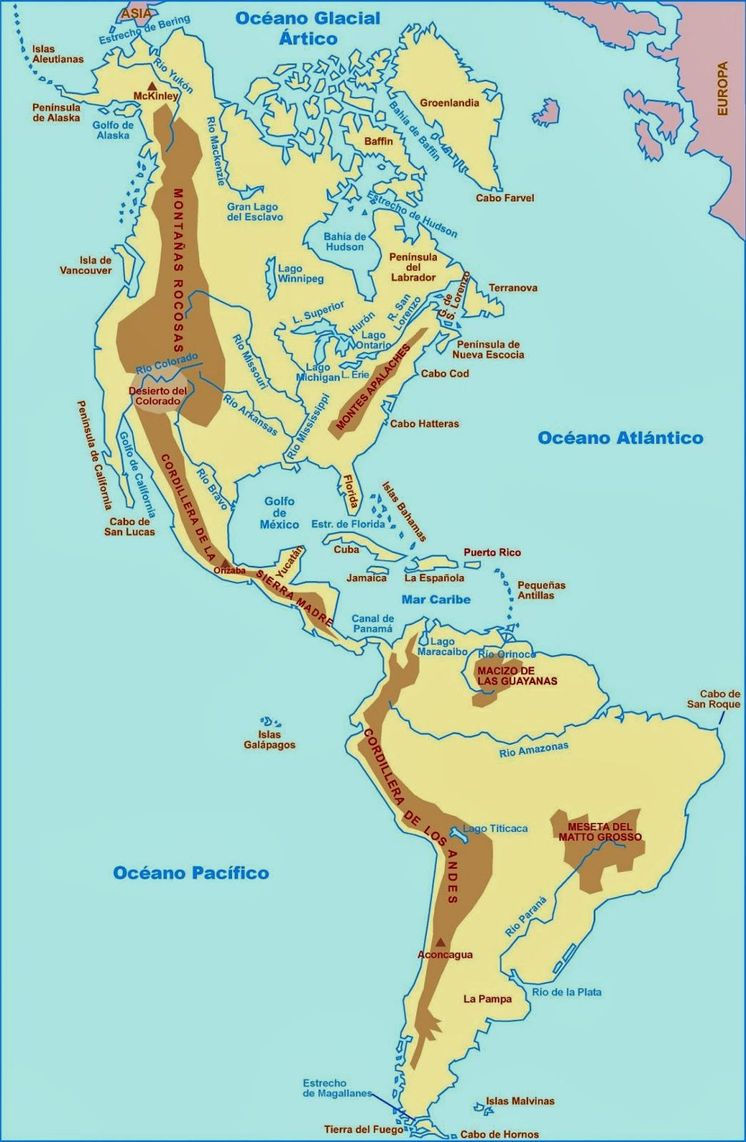 Pin De Geografia Universal Tb En Relieve Hidrografia De America America Del Norte Mapa Mapa De America