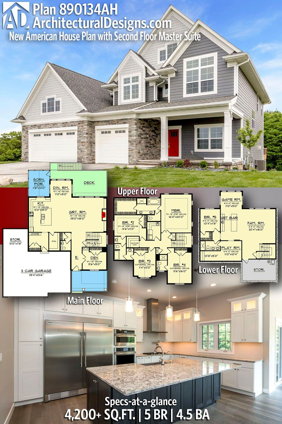 Plan 890134ah New American House Plan With Second Floor Master Suite In 2020 Craftsman House Plans American Houses House Plans