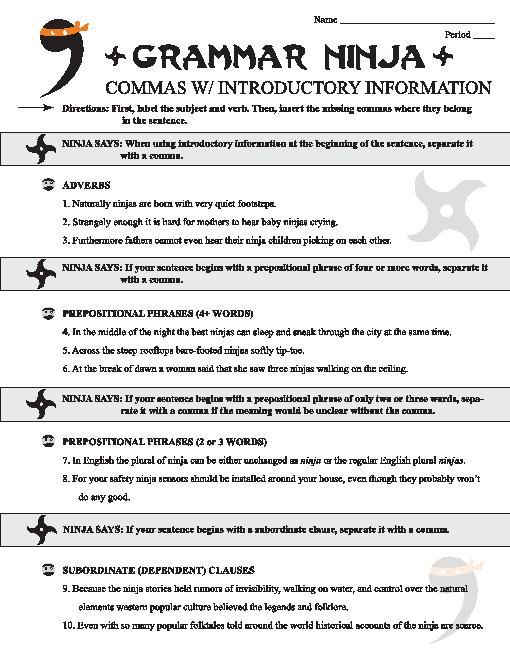 Teacherlingo Com 1 39 Commas W Introductory Information