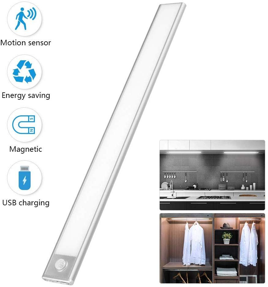 Ultra Thin LED Under Cabinet Light Motion Sensor Rechargeable Stick on Anywhere