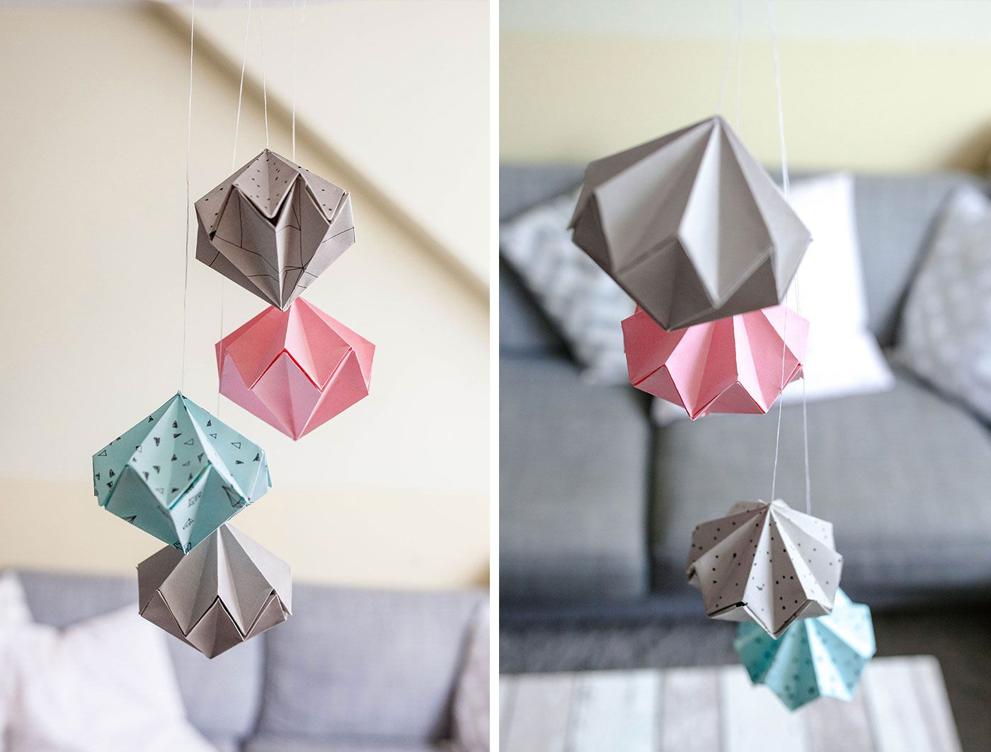 DIY Papier Diamanten atempausen Origami lampe falten