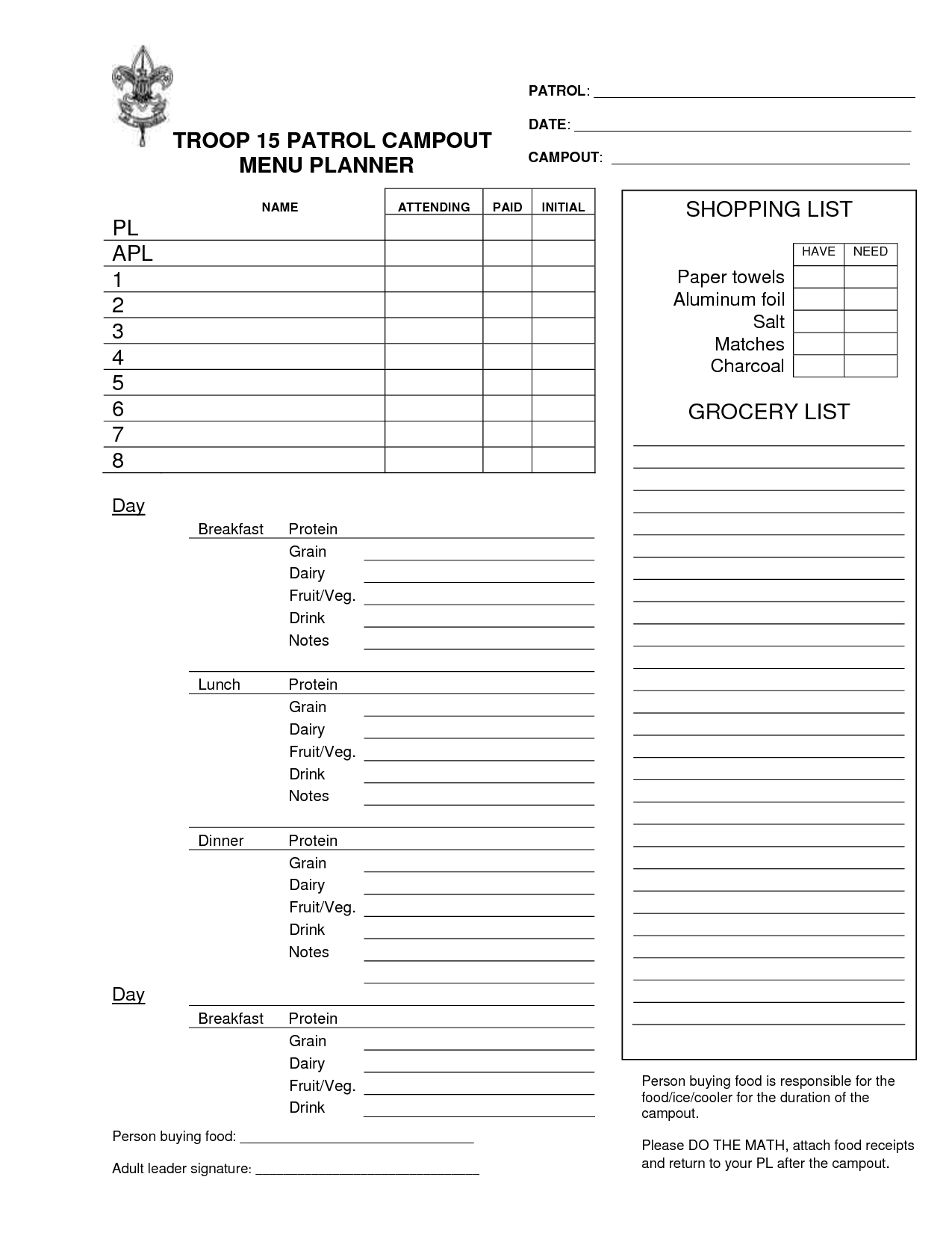 Boy Scout Campout Planning Worksheet