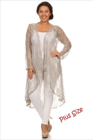 LADIES SHEER LACE LONG SLEEVE OPEN FRONT LONG CARDIGAN-Plus Size ...