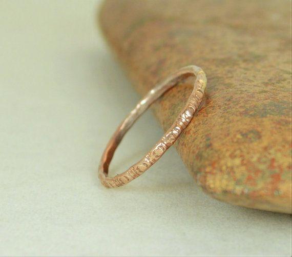 14k Rose Gold Bohemian Ring Rustic Wedding Ring Heirloom Quality