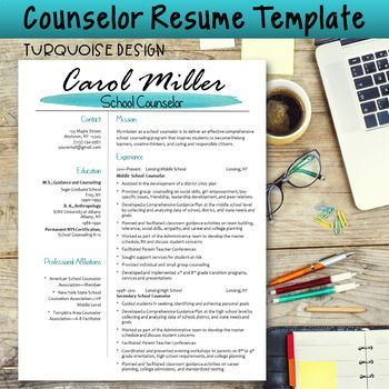 Counselor Resume Template--Turquoise Design Perfect resume - easy perfect resume