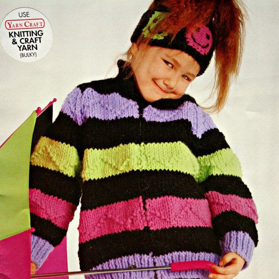 650a82ee0 Sweater and Cardigan Knitting Patterns Bulky Yarn Bouquet 1240 Children Hat  Vintage Paper Original NOT a PDF