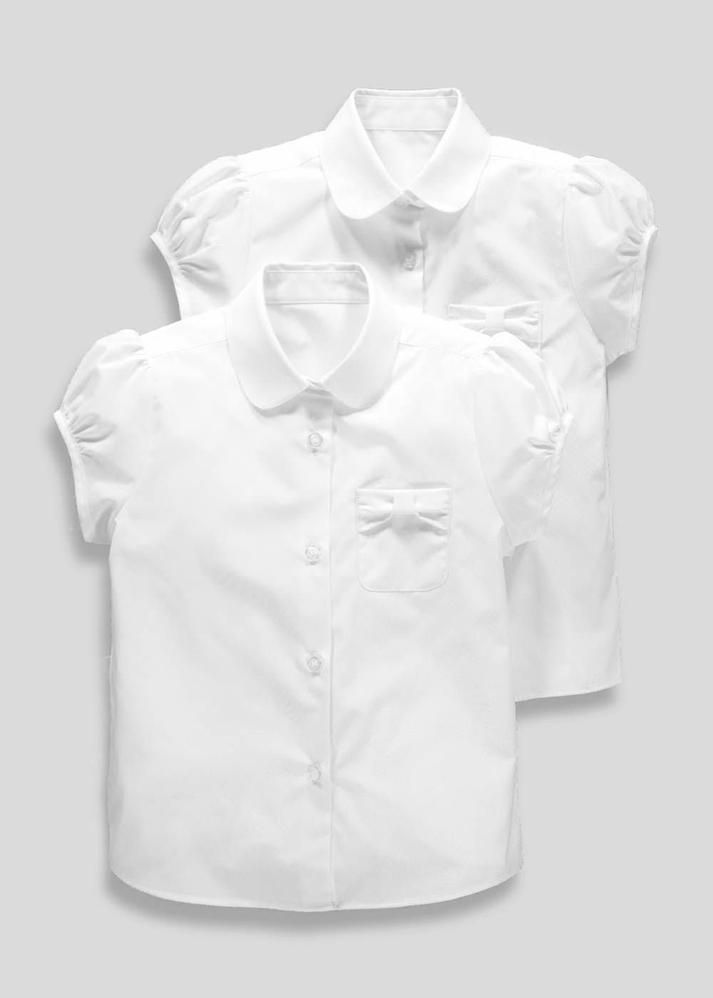 95082dc64 Girls pack of 2 short sleeve minimum iron school blouses in white with bow  pocket detail.