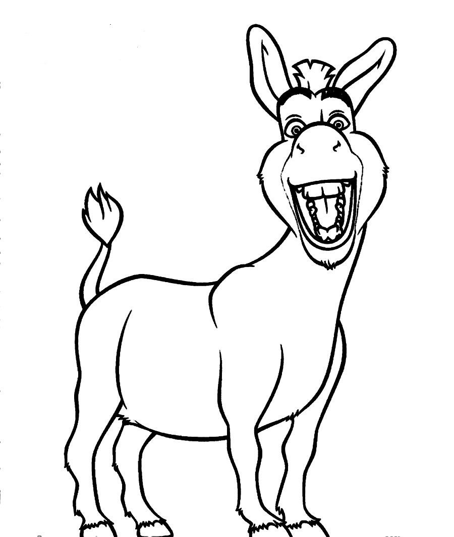 Free Coloring Pages Of Donkey From Shrek Donkey Drawing Print