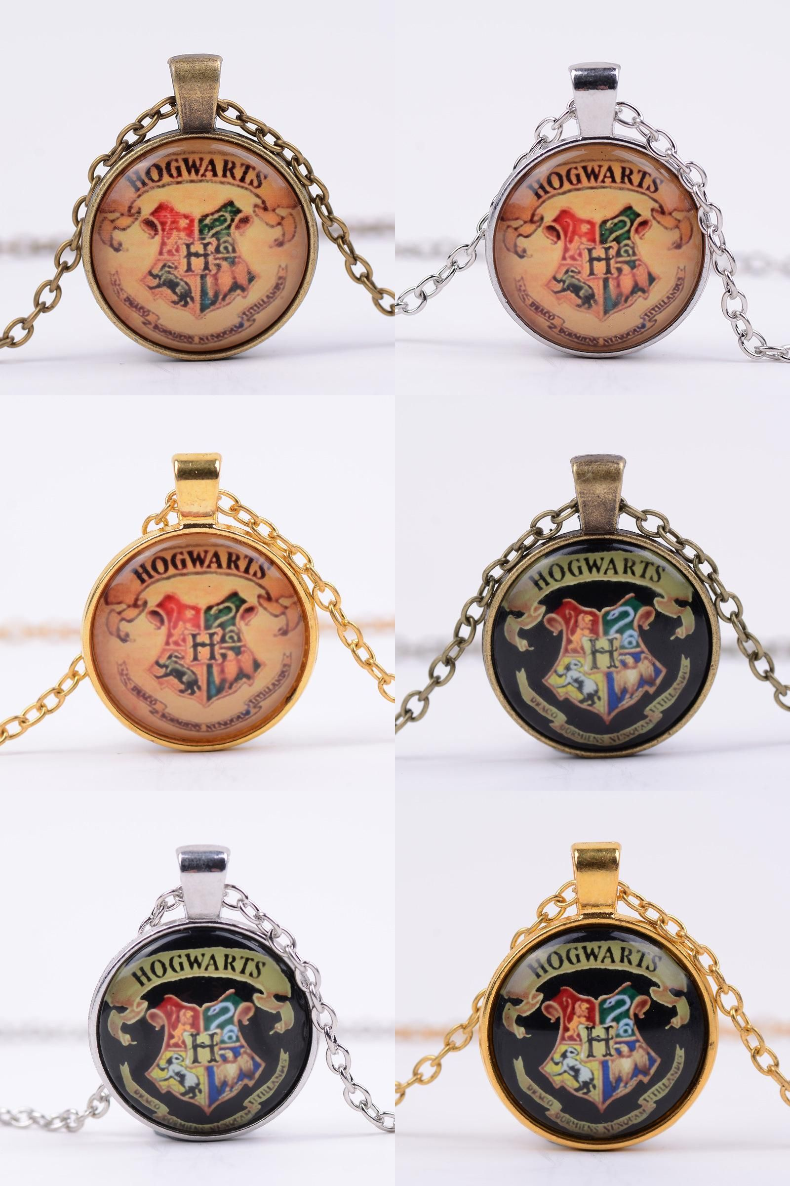 Harry Potter Magic Academy Badge Retro Time stone Necklace Alloy Glass Necklace