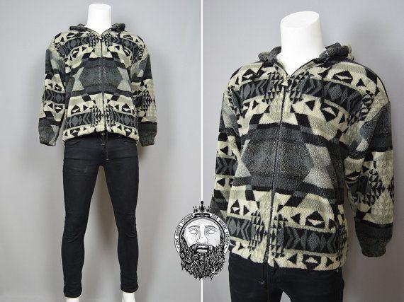 Vintage 90s Aztec Print Hipster Jacket Fleece by ZeusVintage
