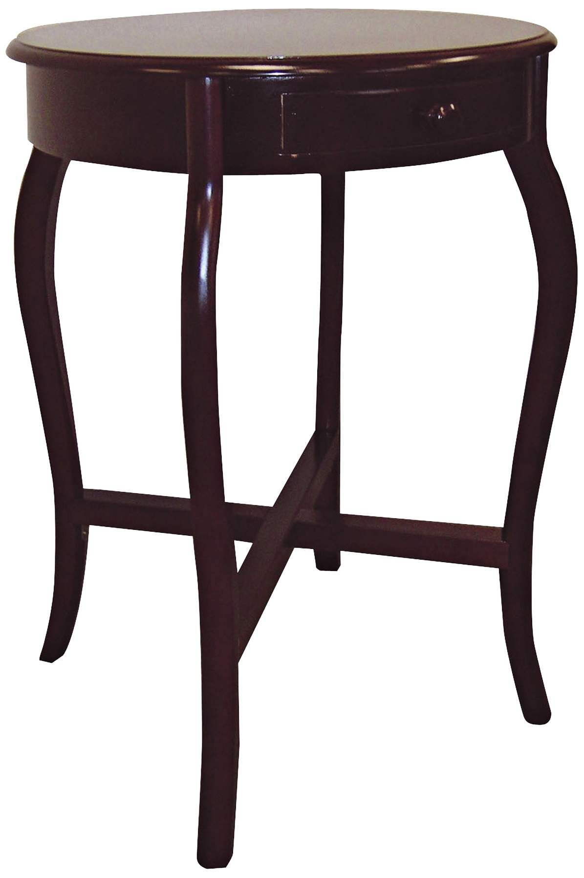 Aker 20 Inch Wide Cherry Round Traditional End Table