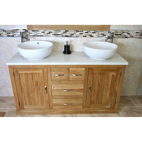 August Grove Aracely Solid Oak 1430mm Free Standing Vanity Unit