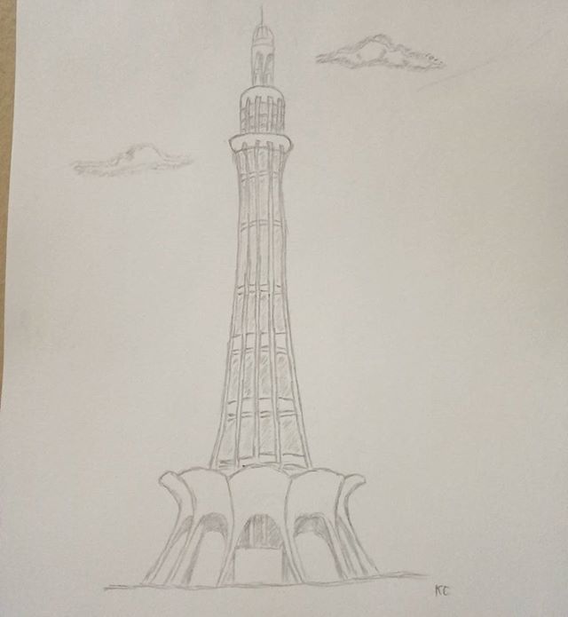 Minar E Pakistan Pencil Drawing Pencildrawing Art Pakistan