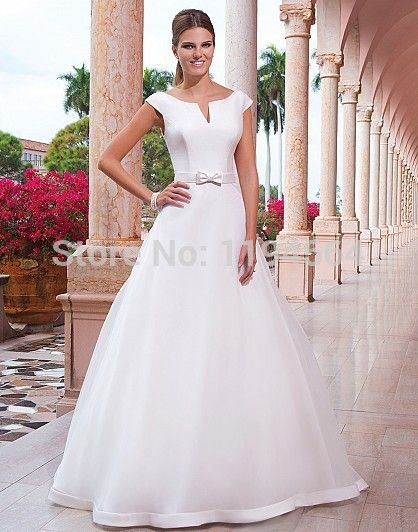 >> Click to Buy << Free Shipping Modest Wedding Dresses 2014 Bridal Dresses Low Back Satin and Organza Vestido De Noiva A Line WH1995 #Affiliate