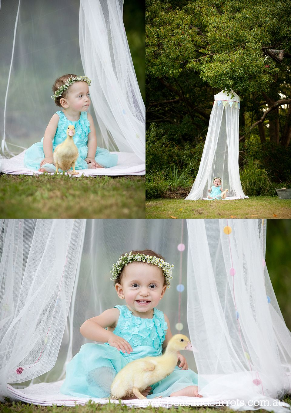 ... Portrait Photography ~ Peas u0026 Carrots Photography. Award winning children. Baby girl and duckling sitting under the trees together in a canopy tent.  sc 1 st  Pinterest & Brisbane Baby Children u0026 Family Portrait Photography ~ Peas ...