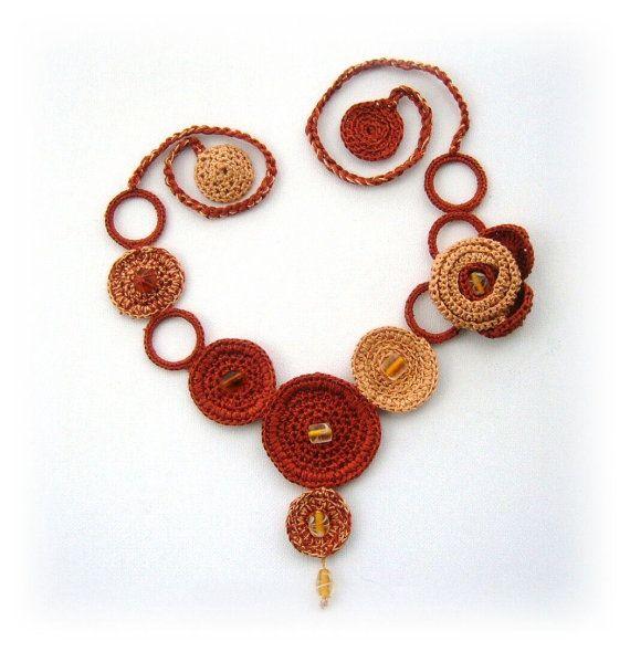 Hand Crochet Necklace Brown Spring Flower and by CraftsbySigita,   www.etsy.com/shop/CraftsbySigita