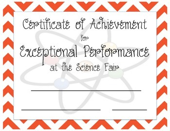 Printable Science Fair Award Certificate  Science Fair