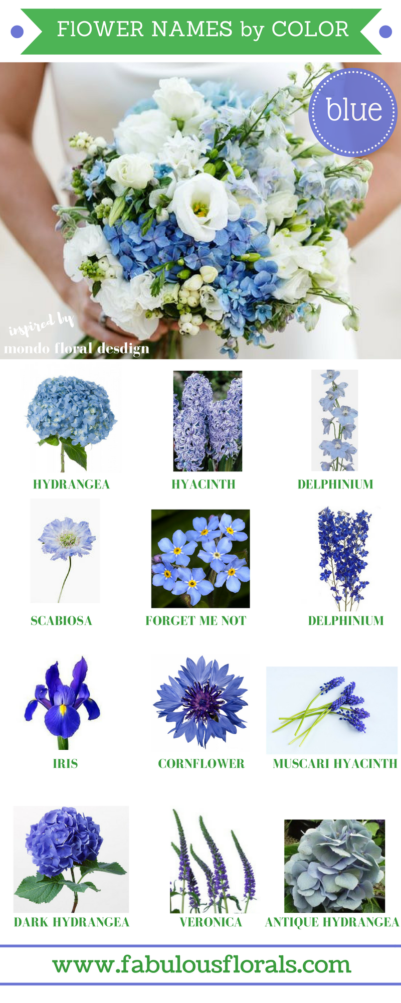 FLOWER NAMES BY COLOR! 2017 wedding trends! . Your 1