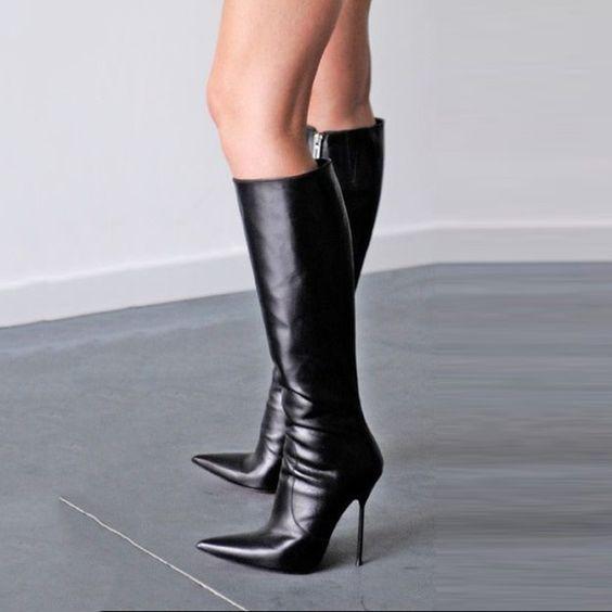 302bf8cebbf5e Vente chaude bout pointu botte femme élégante chaussures stiletto talon  genou haute bottes nouvelle mode noir en cuir bottes chaude vente
