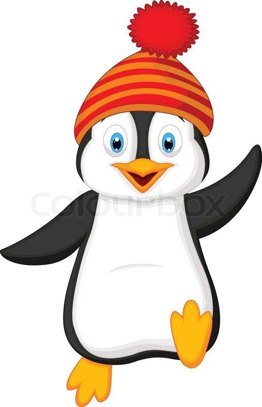 vector illustration of cute penguin cartoon wearing red. Black Bedroom Furniture Sets. Home Design Ideas