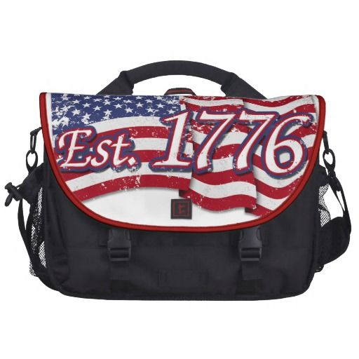 Est. 1776 USA Flag - distressed Laptop Messenger Bag   •   This design is available on t-shirts, hats, mugs, buttons, key chains and much more   •   Please check out our others designs at: www.zazzle.com/ZuzusFunHouse*