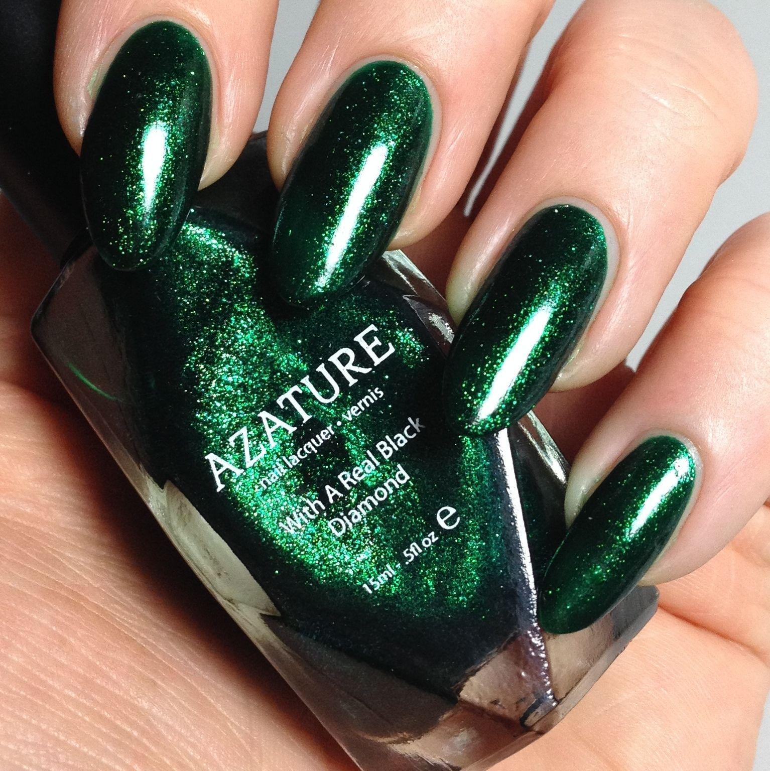 Azature black diamond nail polish in Green. The entire 40 colour ...