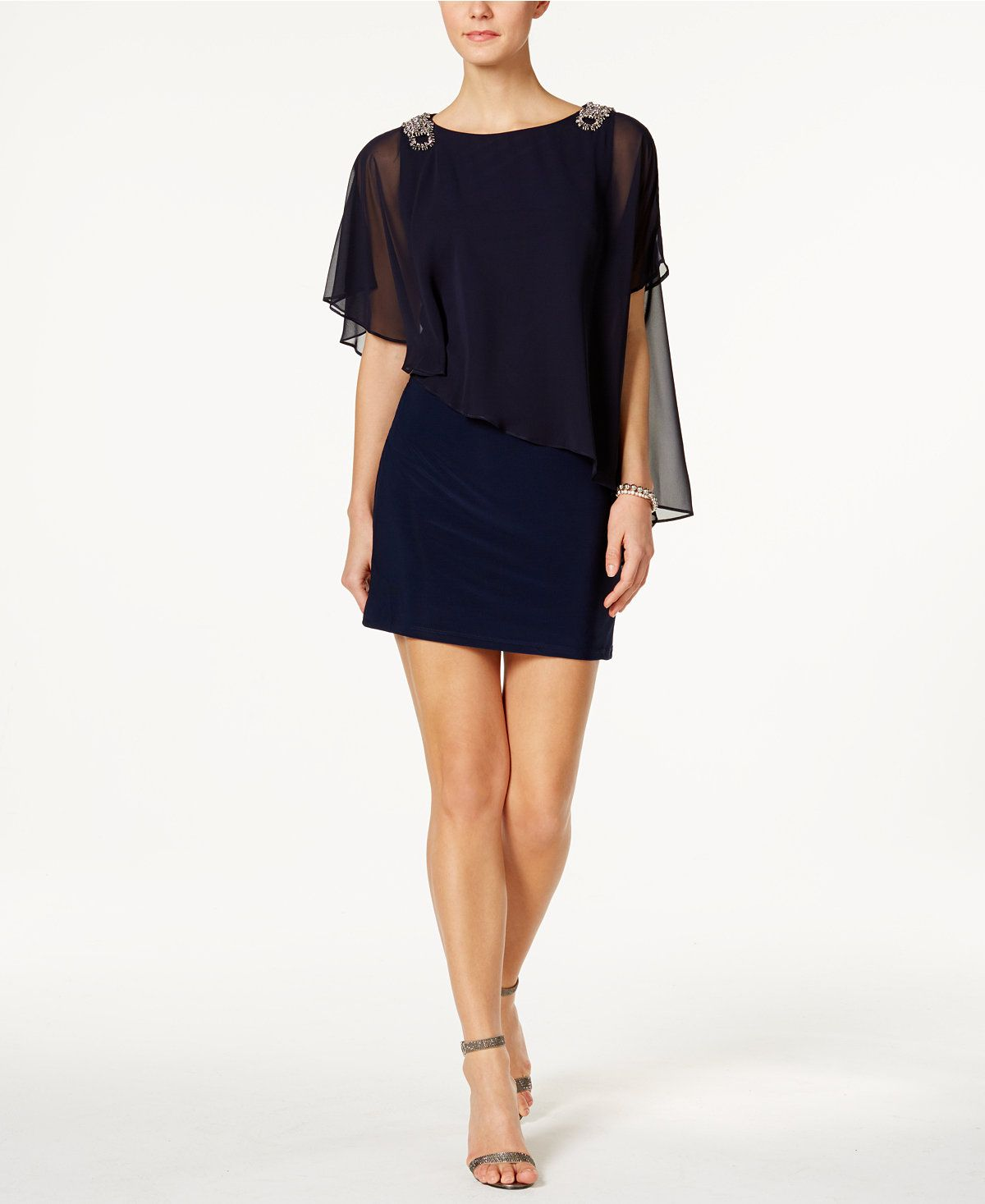 Xscape evenings x by petite embellished chiffon cape dress cape