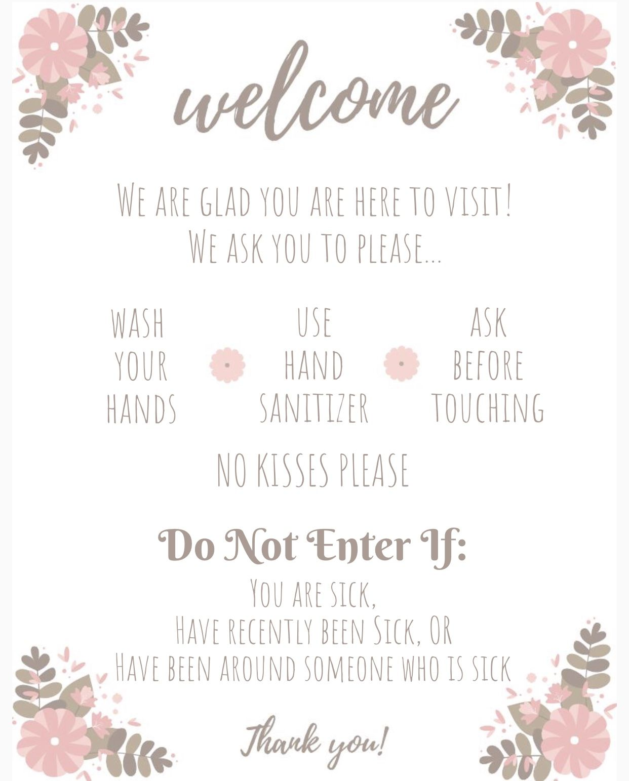 Hand Washing And No Kissing Sign For Hospital Door Baby Signs
