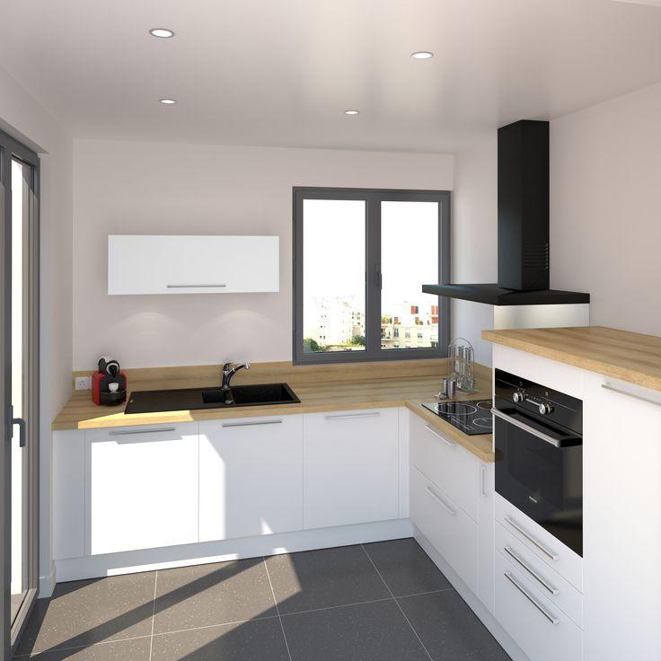 cuisine blanche mate et contemporaine ambiance scandinave avec son plan de travail en bois clair dcor - Cuisine Blanche Avec Plan De Travail Noir