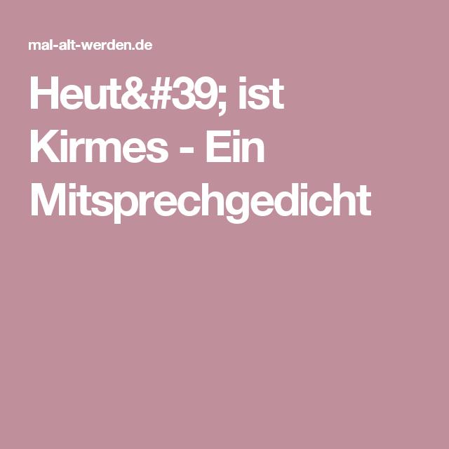 Heut Ist Kirmes Ein Mitsprechgedicht Gedichte Kirmes
