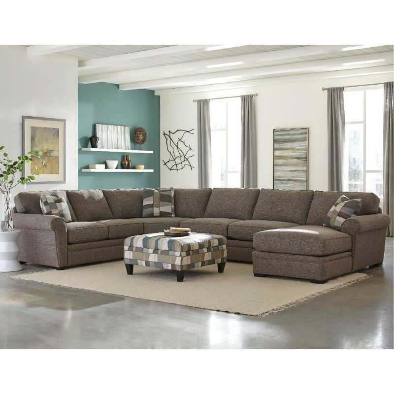 Brown 4 Piece Sectional Sofa With Raf Chaise Orion Sectional