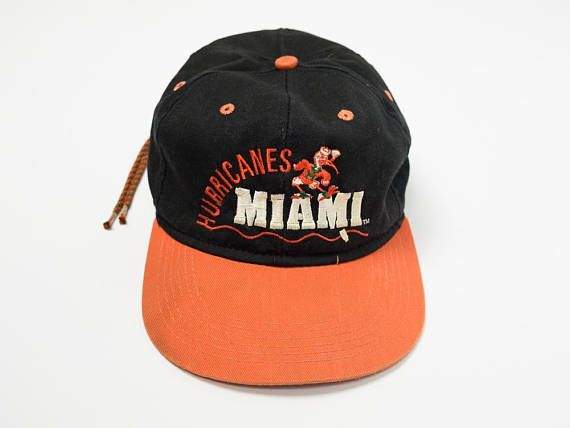 meet f9084 2a0fb ... cheap 90s miami hurricanes hat vintage 90s miami hurricanes hat cinch  back hat black and orange