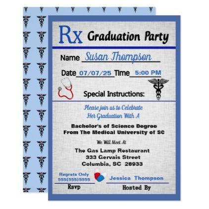 Medical Prescription Pad Graduation Invitation  Nursing Nurse