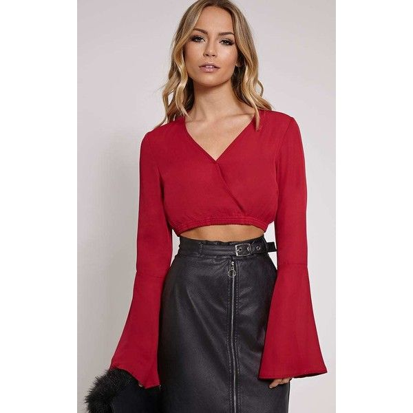 bc59aa6bd0d Gem Burgundy Chiffon Bell Sleeve Crop Top ($8.05) ❤ liked on Polyvore  featuring tops