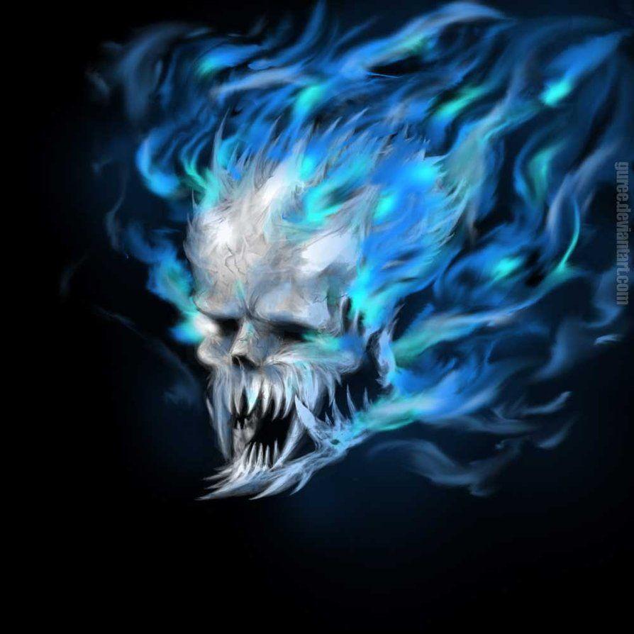 Blue Flame Skull By Guree Dsqzr Wallpixy Blue Skulls Skull Pictures Skull Wallpaper