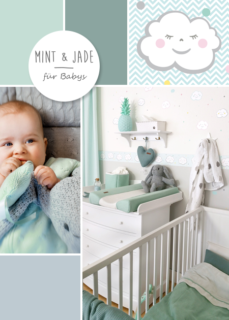 babyzimmer mit wolken in grau mint jade baby room inspiration pinterest babyzimmer. Black Bedroom Furniture Sets. Home Design Ideas