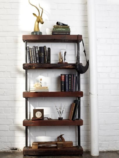 Industrial Rustic Bookshelf Bookshelves Diy Diy Furniture Projects Rustic Bookshelf