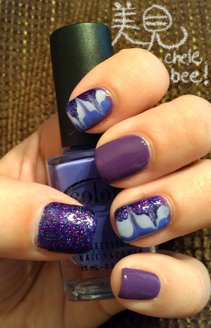 Colors are OPI Funky Dunkey, Love & Beauty Lavender, OPI