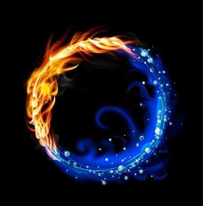Fire And Water Balance Seni Grafis Gambar Naga Lukisan Galaksi