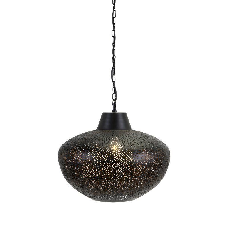 A Pierced Metal Shade In A Matte Black Finish Lined With