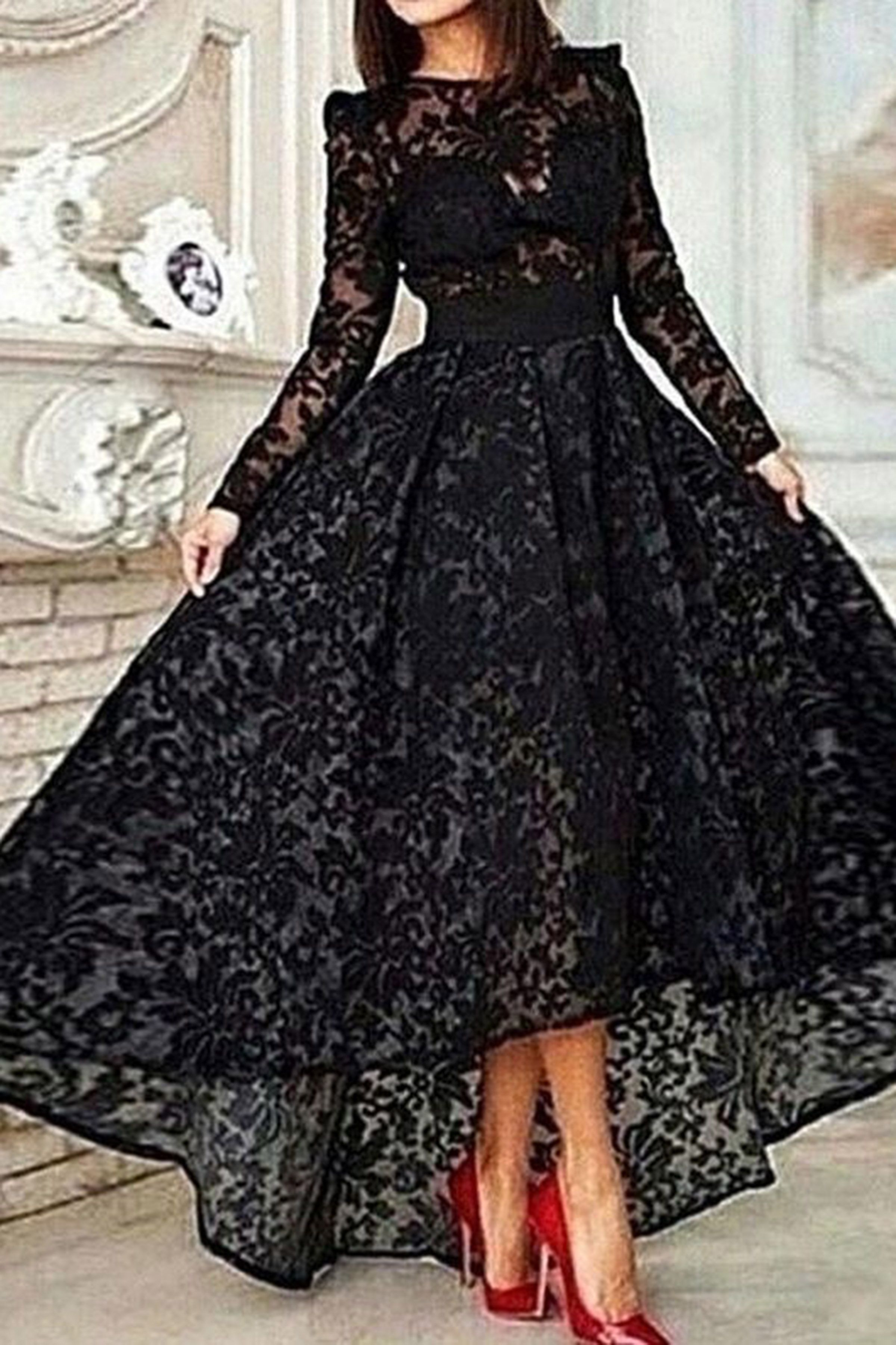 Black lace long sleeves long formal dresses prom dress prom shoes