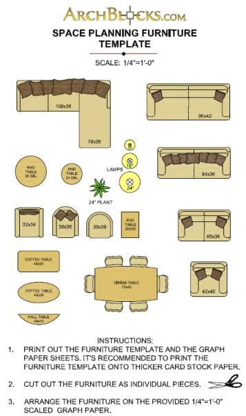 Printable furniture templates 1 4 inch scale free graph for Furniture templates for room design