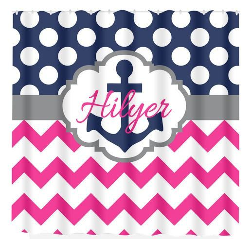 Anchor SHOWER CURTAIN Nautical Navy Hot Pink By