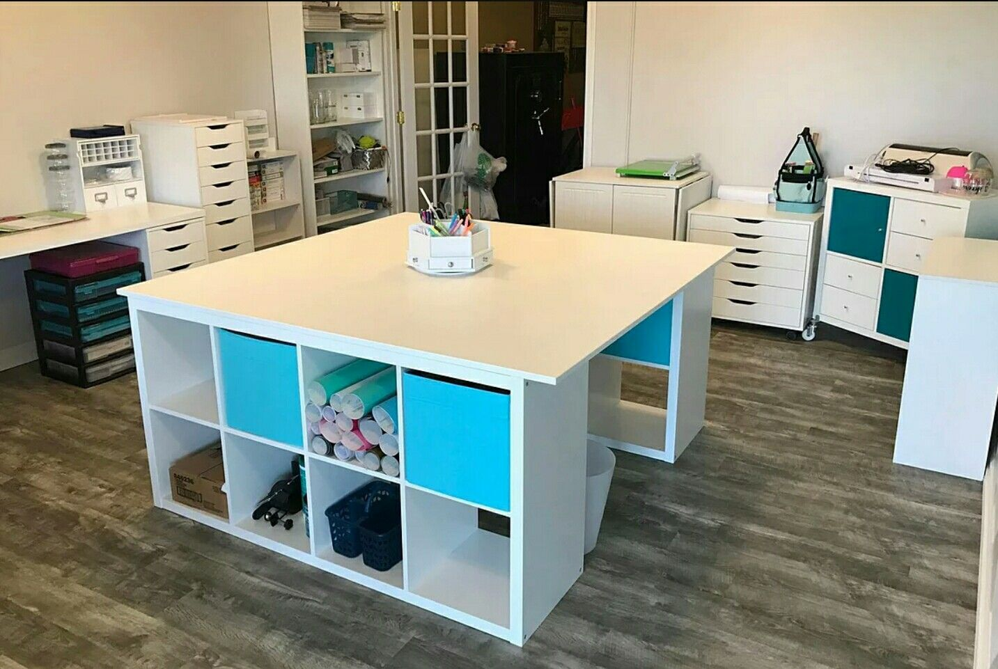 Craft Table Made From Ikea Cubes Table Tops We Created The Center Island With 2 Kallax Un Craft Tables With Storage Craft Table Ikea Craft Storage Cabinets